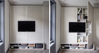 Interior Design Idea: Hide Shelves With Large Cabinet Doors